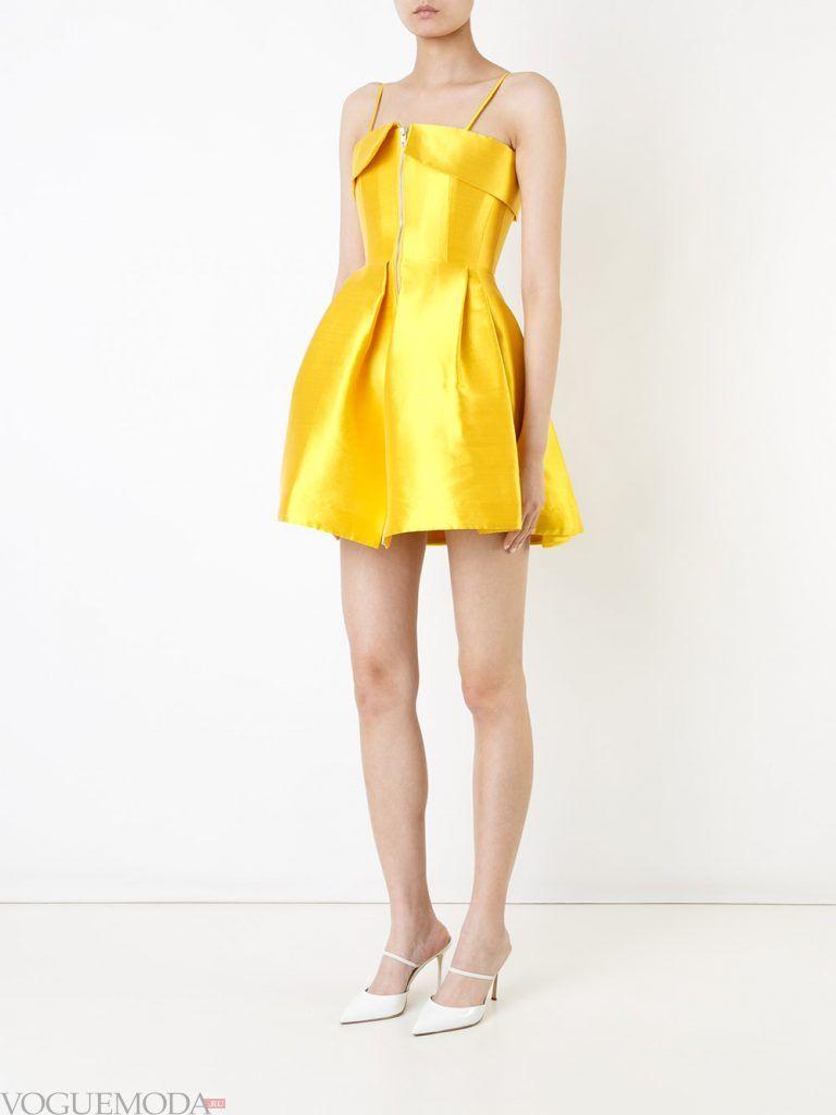 короткое выпускное платье с корсетом желтое