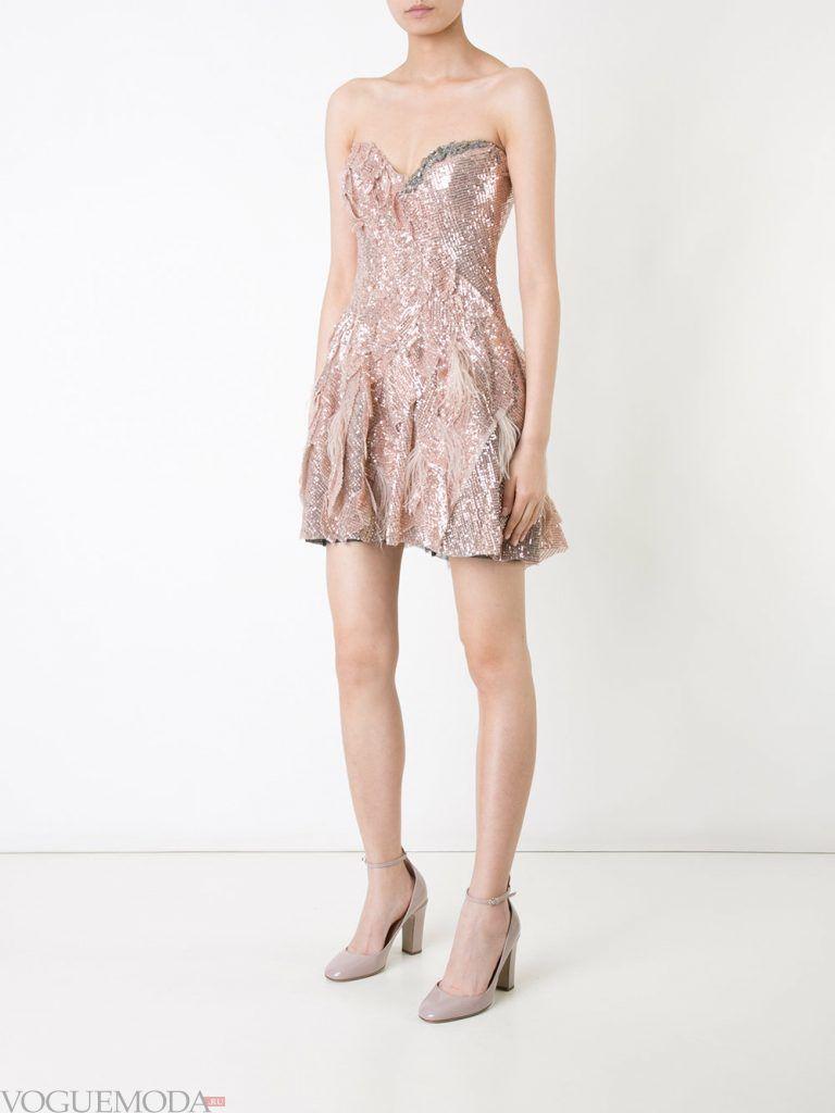 короткое выпускное платье с корсетом нюдовое