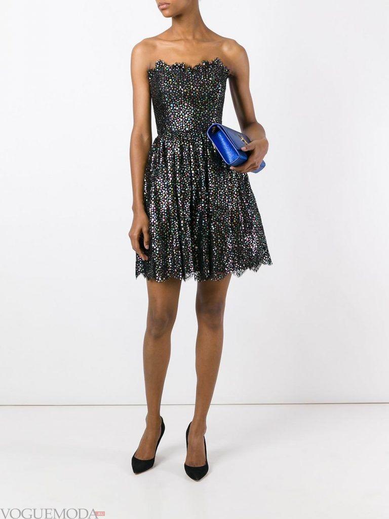 короткое выпускное платье с корсетом черное
