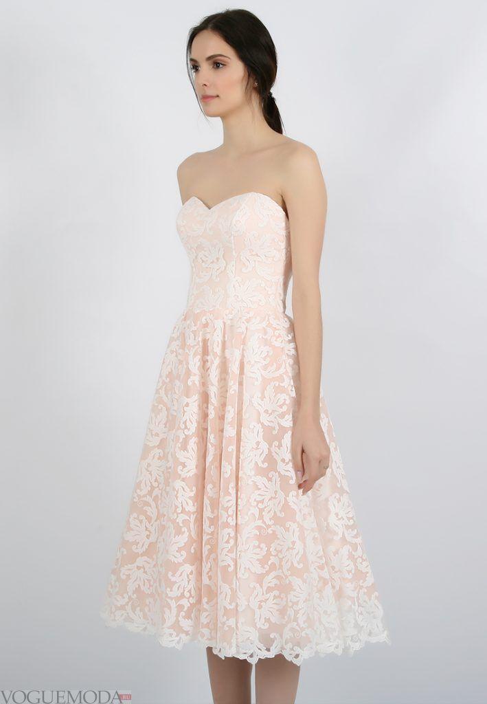 короткое выпускное платье с корсетом молочное
