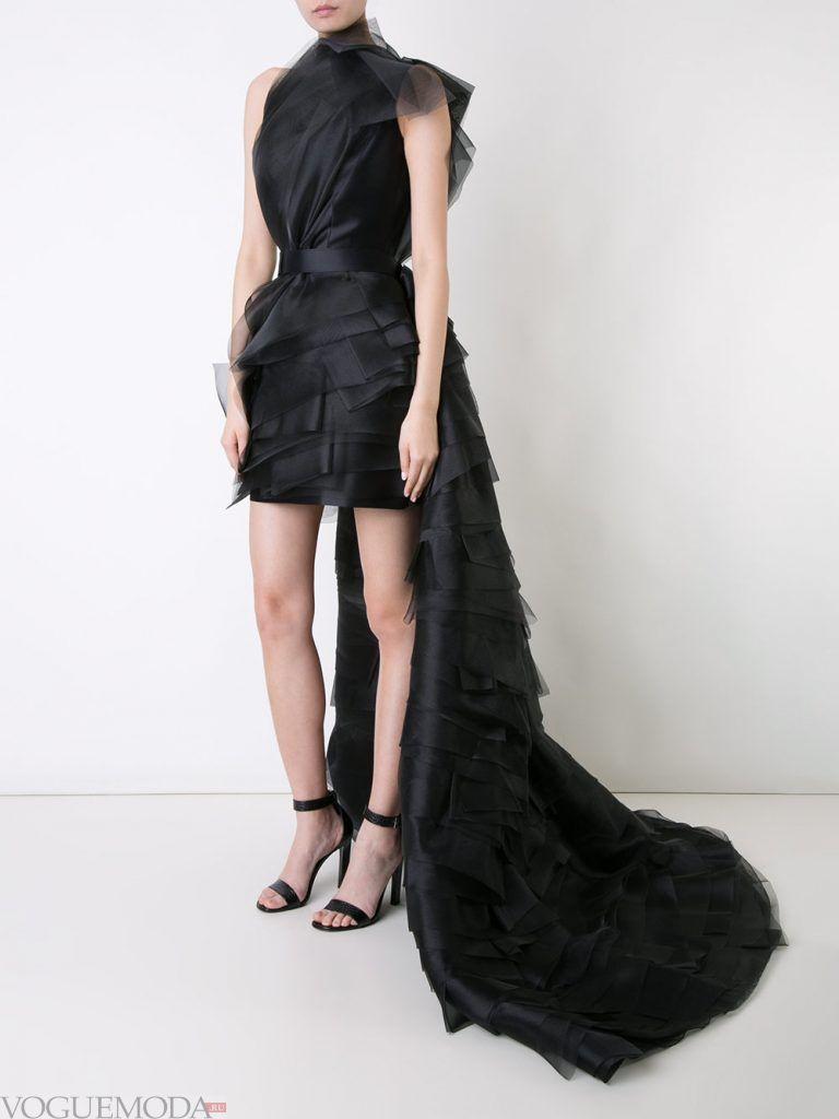 короткое выпускное платье со шлейфом черное