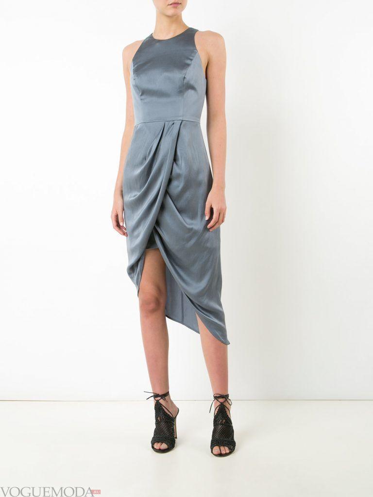 короткое выпускное асимметричное платье серое