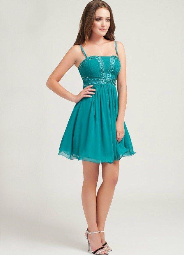 короткое выпускное платье шифоновое бирюзовое