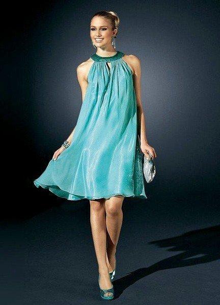 короткое выпускное платье шифоновое с декором
