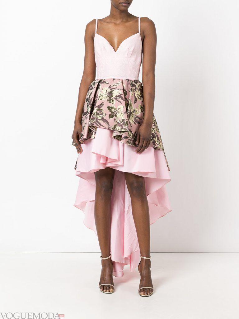 короткое выпускное асимметричное платье розовое
