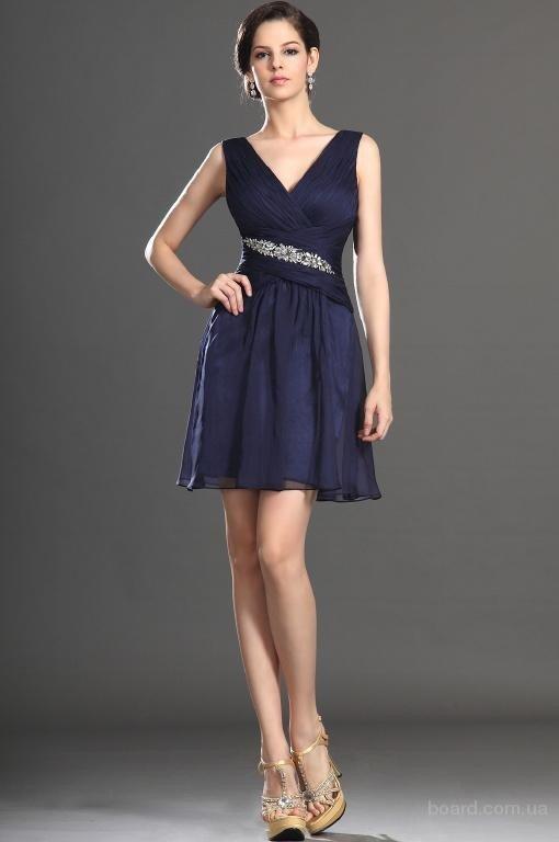 короткое выпускное платье шифоновое темное
