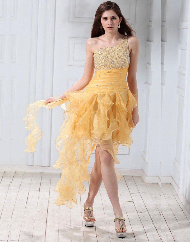 короткое выпускное платье шифоновое желтое