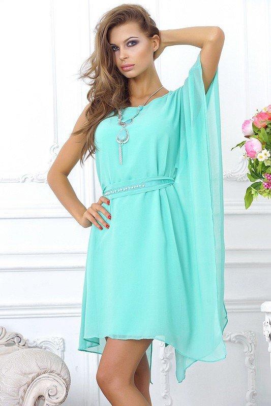 короткое выпускное платье шифоновое голубое