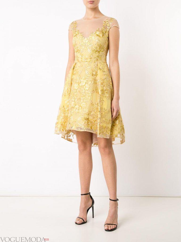 короткое выпускное платье желтое