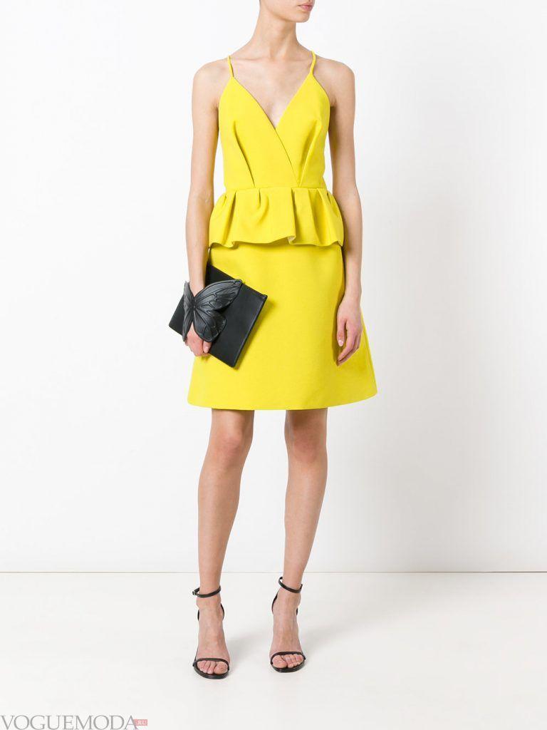 вечернее короткое выпускное платье желтое