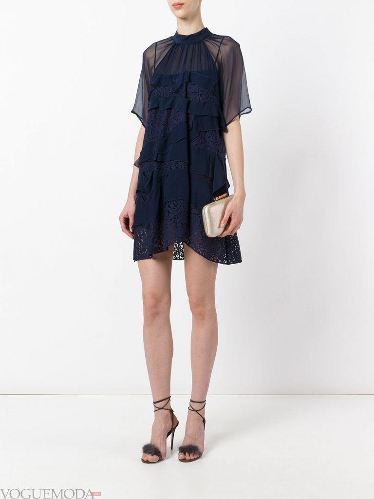 вечернее короткое выпускное платье синее
