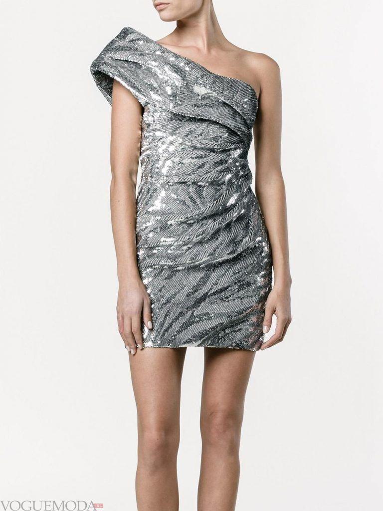 вечернее короткое выпускное платье серебристое