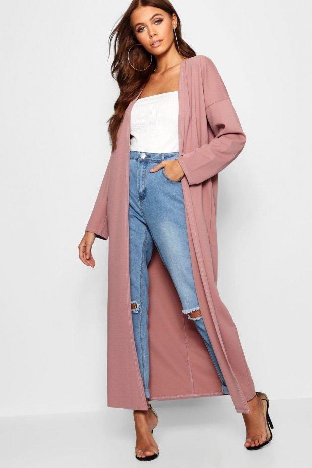 Верхняя одежда осень зима 2019 2020: длинное розовое пальто