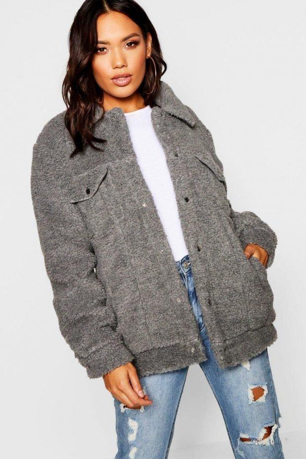 Верхняя одежда осень зима 2019 2020: серая куртка