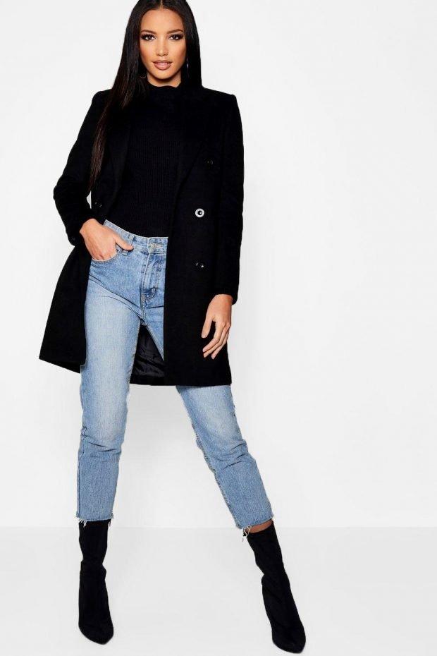 Верхняя одежда осень зима 2019 2020: черное пальто