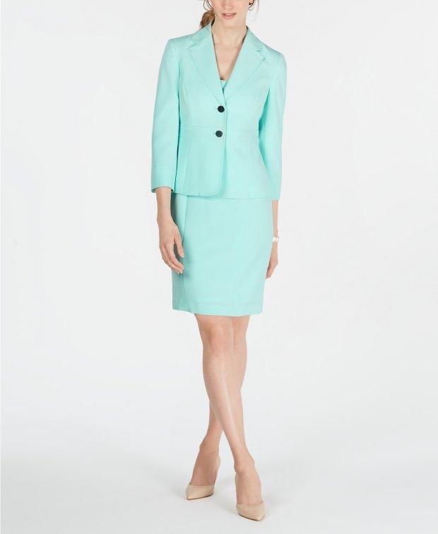 женский костюм 2020 2021: бирюзовый с юбкой