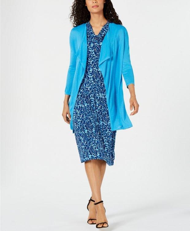 синий пиджак с рюшами
