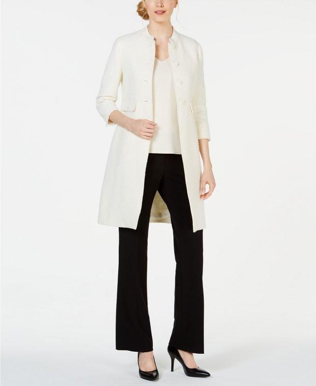 длинный пиджак белый без воротника под черные брюки