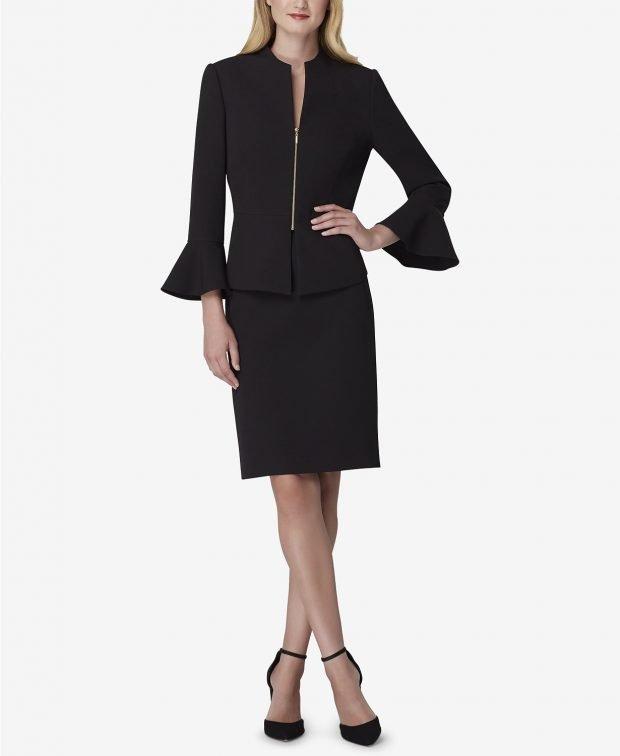 черный пиджак на молнии рукава клеш