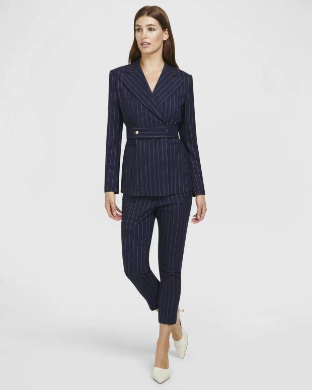 женский костюм 2019 2020: темно-синий с брюками