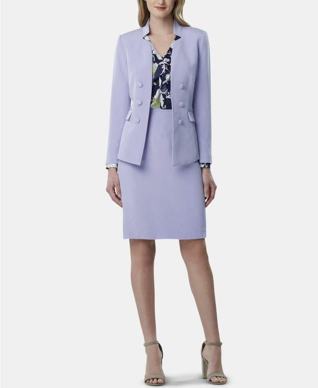 женский костюм 2020 2021: фиолетовый с юбкой