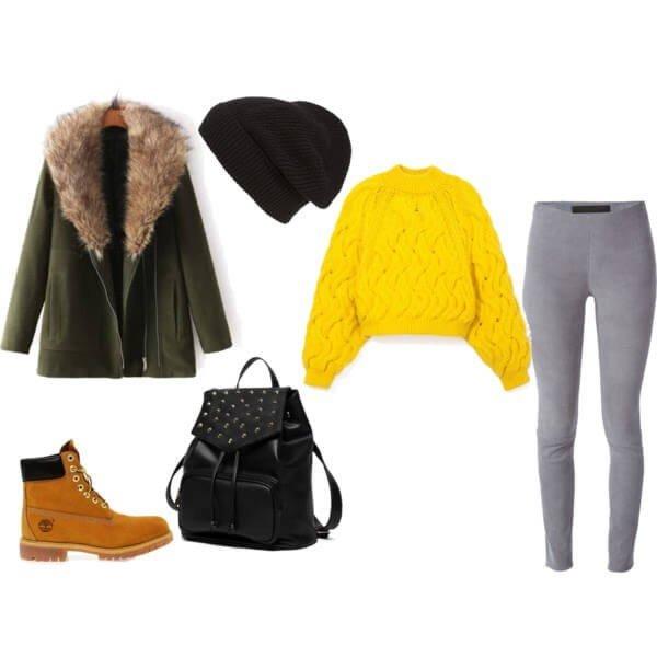 зимний лук с ботинками