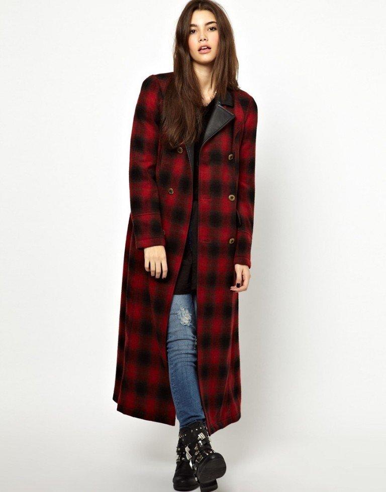 зимний лук кэжуал с пальто в клетку