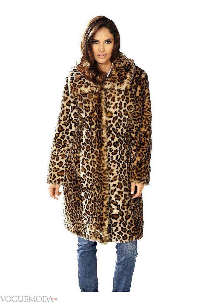 зимний лук кэжуал с леопардовой шубой