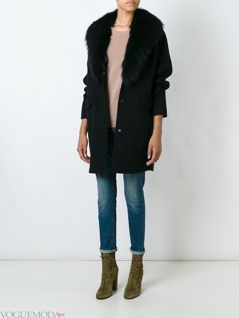 зимний лук кэжуал с джинсами