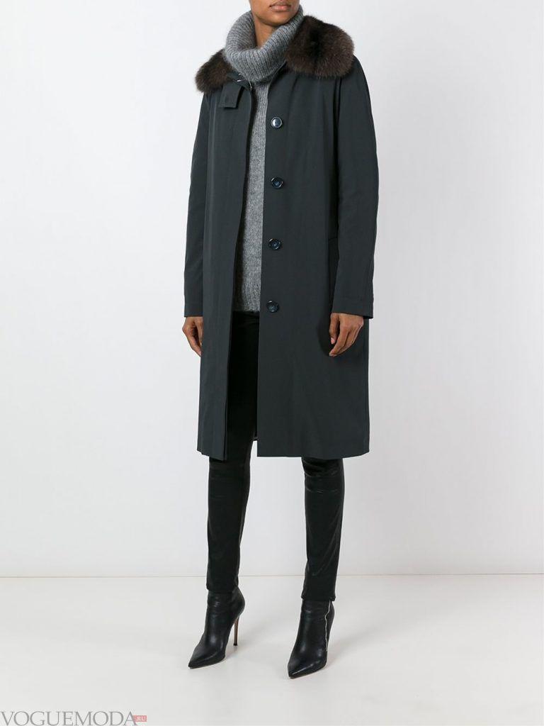 зимний лук милитари с пальто