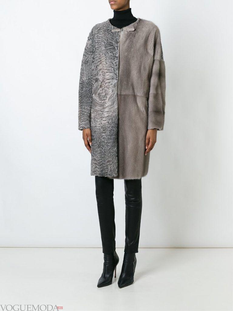 зимний лук с серым пальто