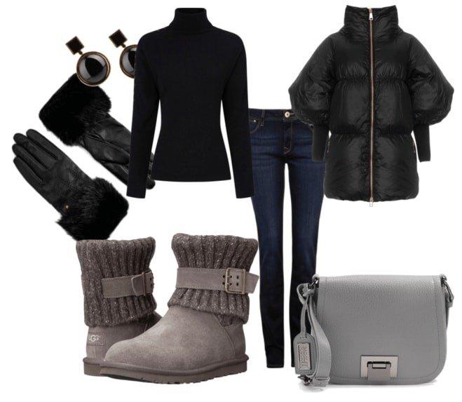 зимний лук с джинсами