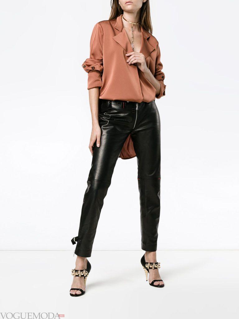 женские брюки скинни кожаные