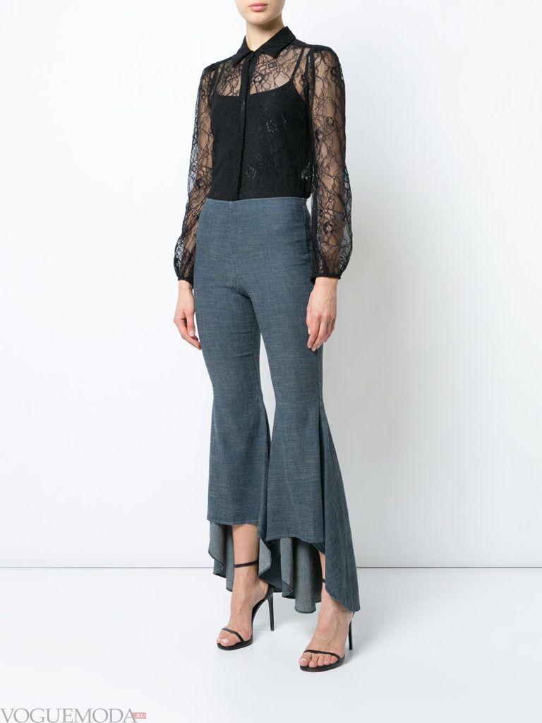 женские брюки клеш серые