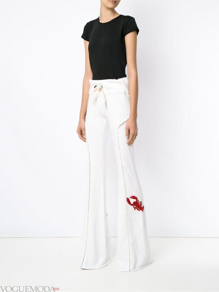 женские брюки клеш белые