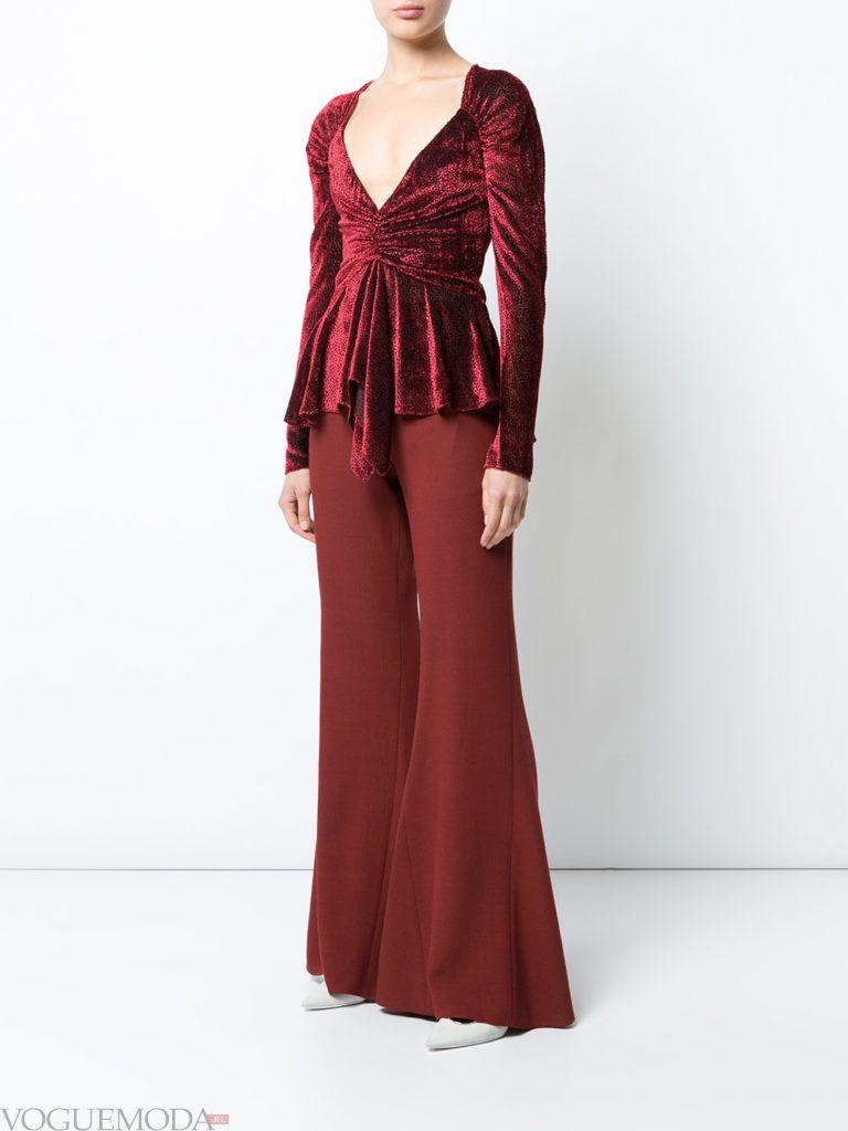 женские брюки клеш бордовые