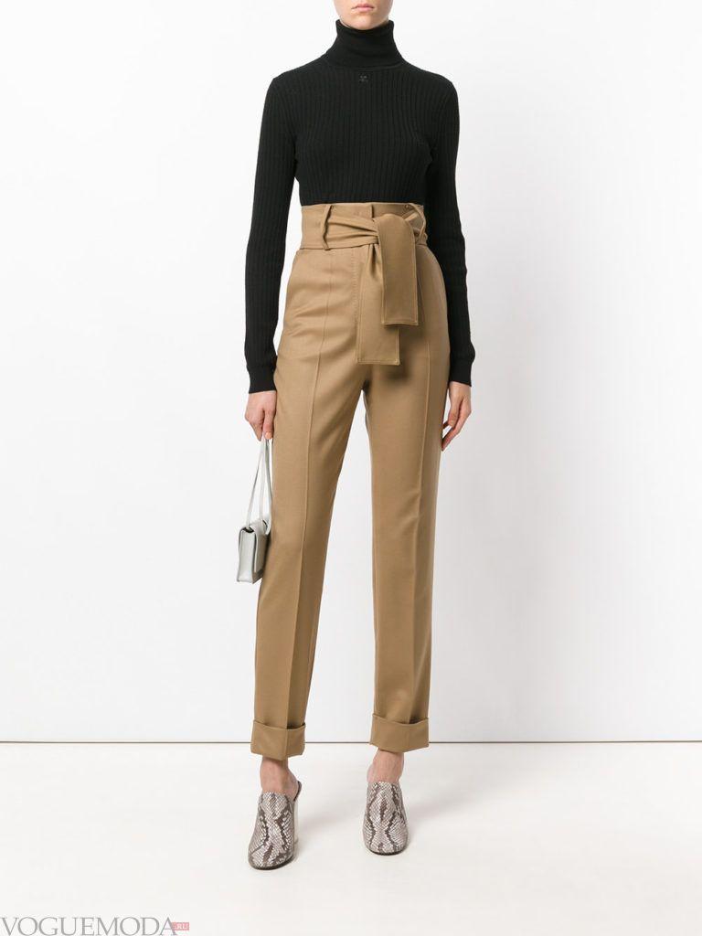 женские брюки со стрелками коричневые