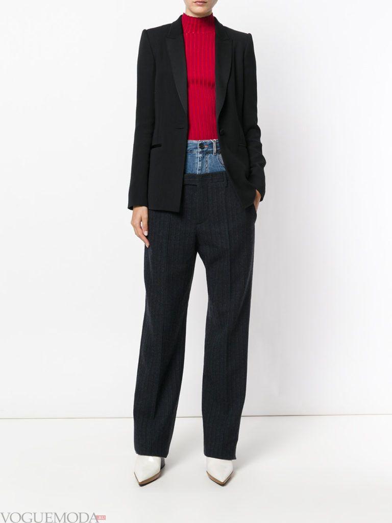 женские брюки со стрелками красные с декором