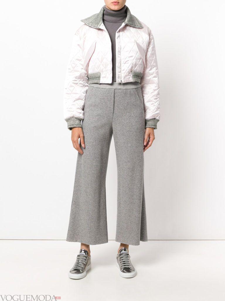 широкие женские брюки серые