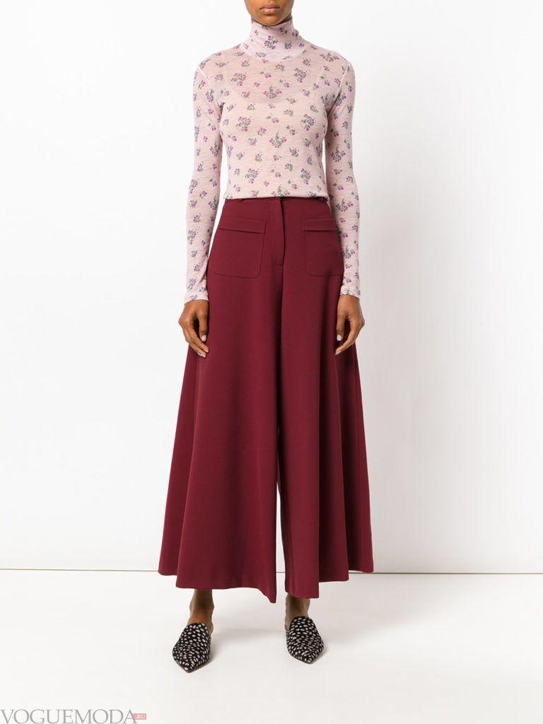 широкие женские брюки бордовые