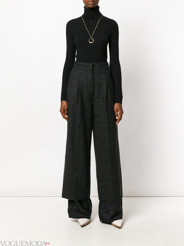 широкие женские брюки черные