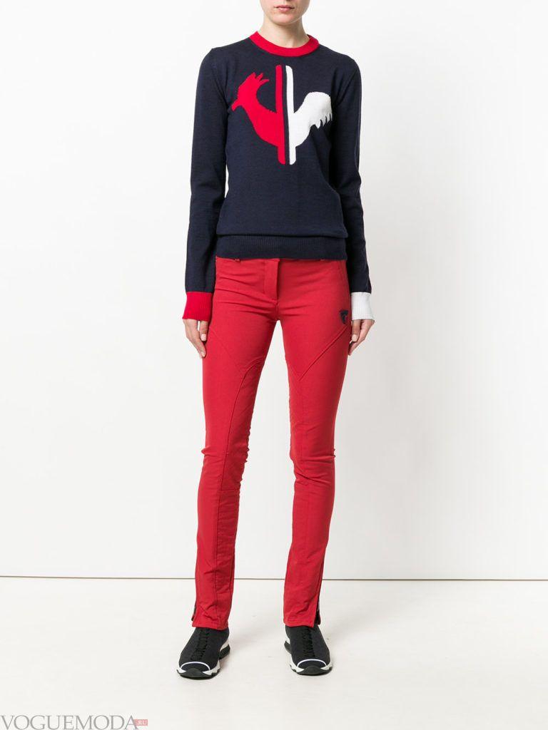 женские брюки скинни красные