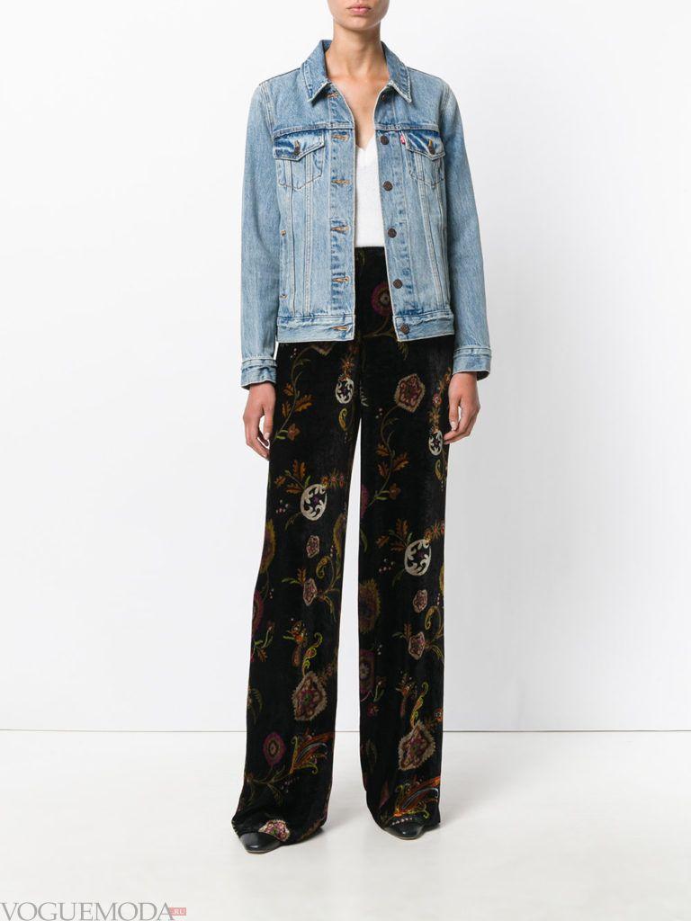 широкие женские брюки бархатные