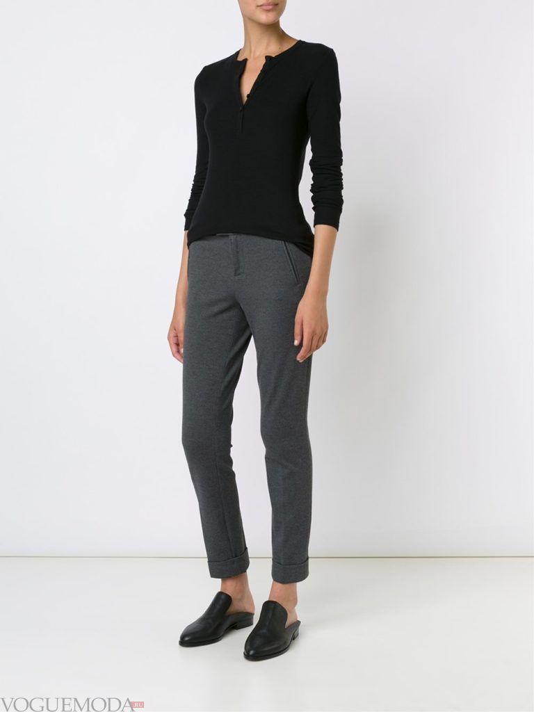 женские брюки дудочки серые