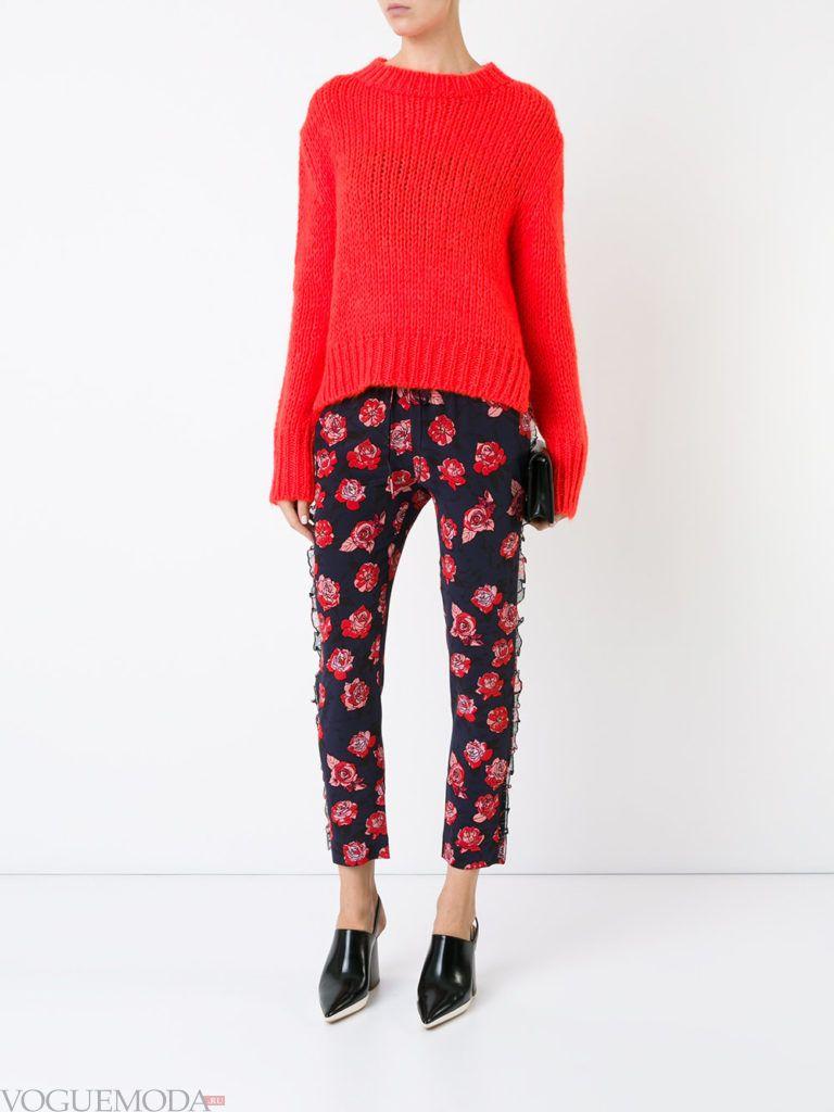 женские брюки дудочки с принтом