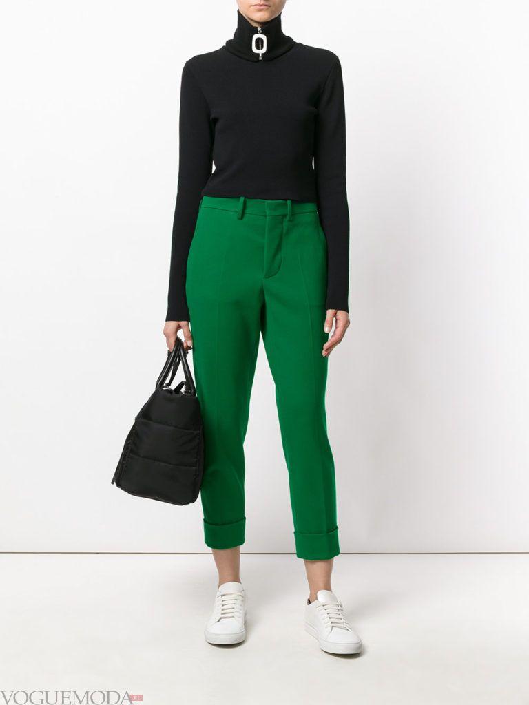 женские брюки дудочки зеленые