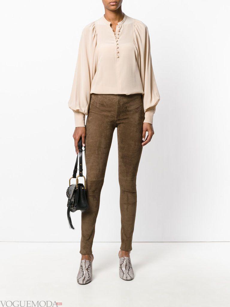 женские брюки скинни замшевые