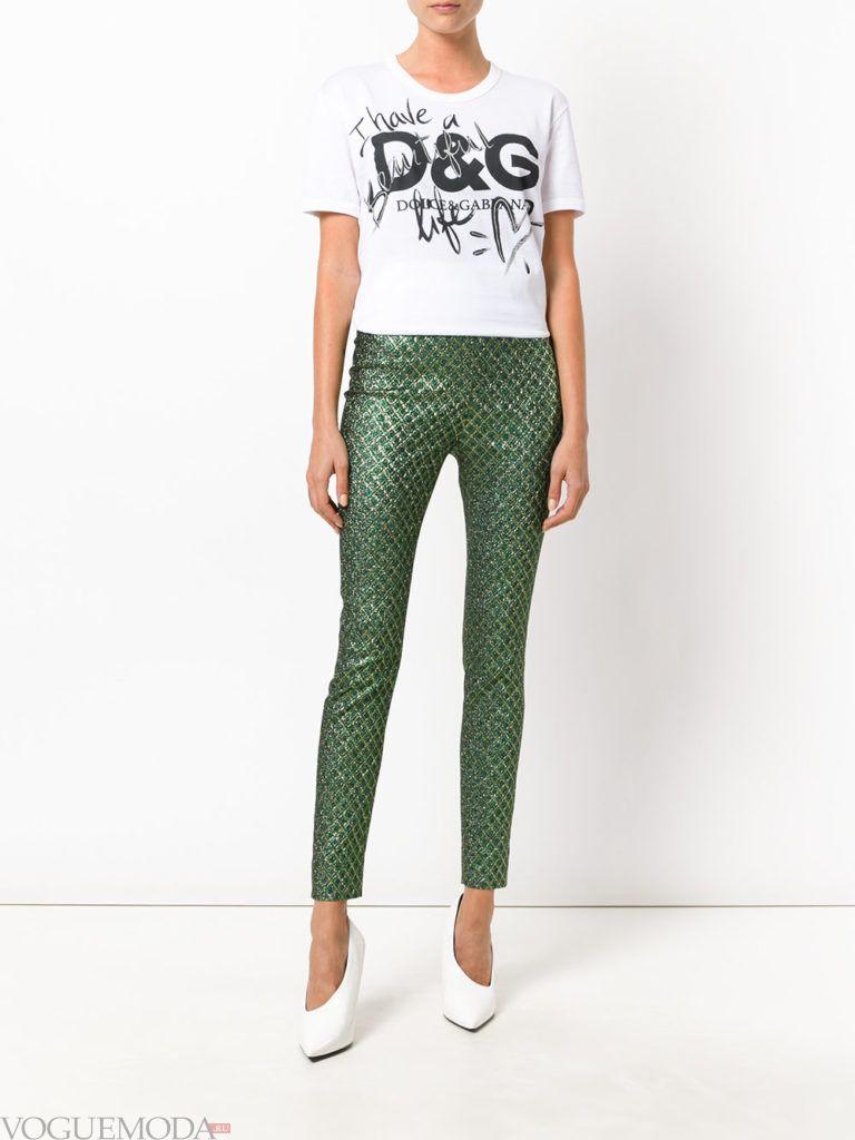 женские брюки скинни зеленые