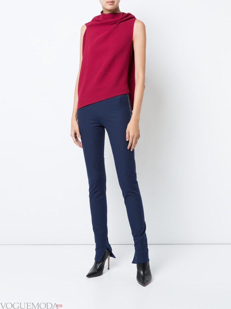 женские брюки скинни синие