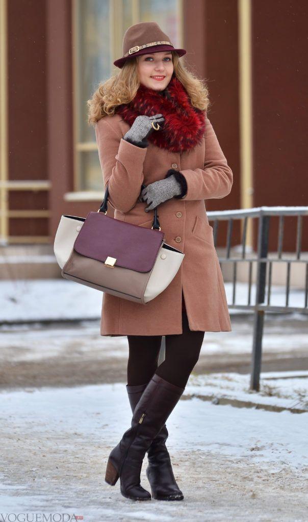 меховой палантин с пальто